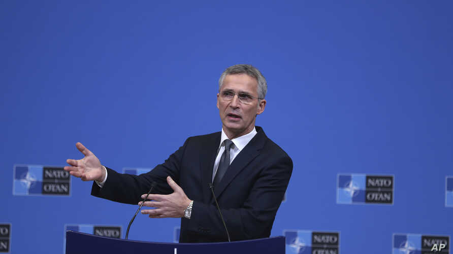 NATO Secretary General Jens Stoltenberg speaks during a media conference at NATO headquarters in Brussels, Dec. 3, 2018.