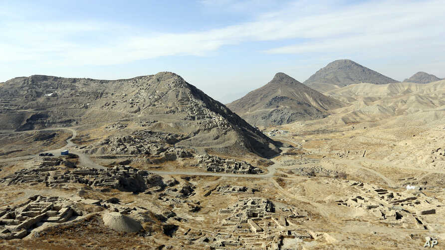 A general view of Mes Aynak valley, about 40 kilometers (25 miles) southwest of Kabul, Afghanistan, Jan. 18, 2017. The Afghan government is trying to grab President Donald Trump's attention by dangling its massive, untouched wealth of minerals, incl