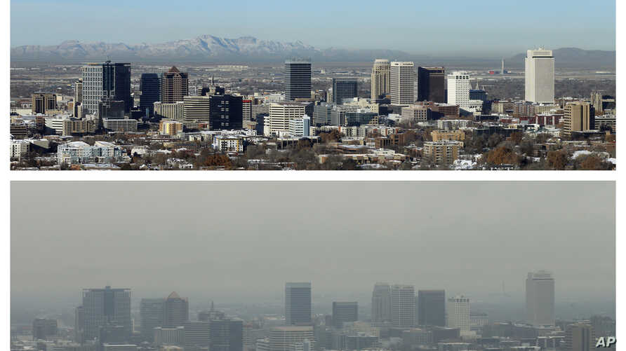 This combination of Dec. 13 and 17, 2018 photos shows downtown Salt Lake City during clear and an inversion day.