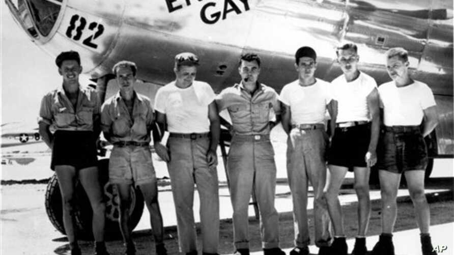 "FILE -- In this undated handout picture from the U.S.Army Air Force, the ground crew of the Enola Gay B29 bomber, which bombed Hiroshima, Japan on Aug. 6, 1945 with the ""Little Boy"" atomic bomb."