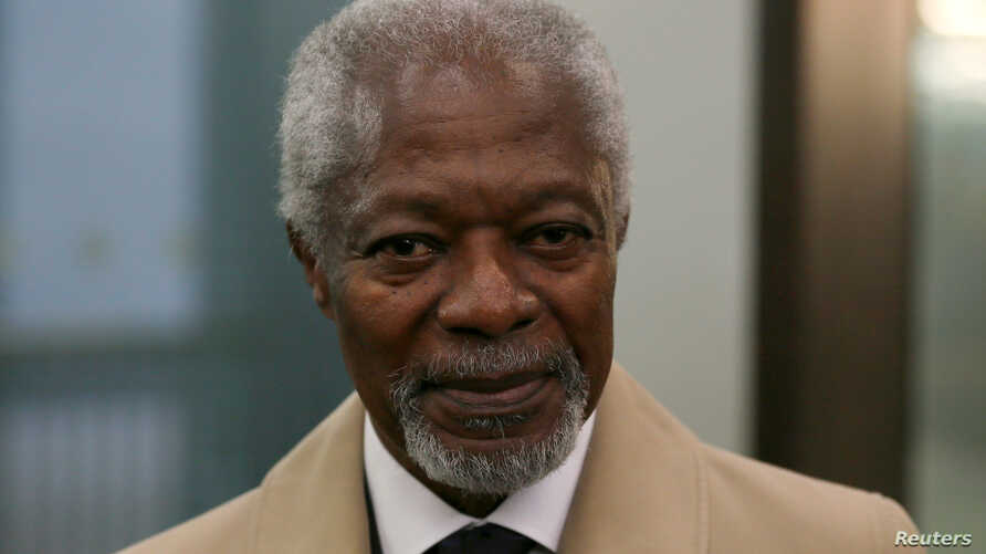 FILE - Kofi Annan, arrives for the media launch of the Africa Progress Report 2014 in London, May 8, 2014. The former U.N. secretary-general has died at age 80.