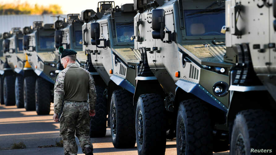 British troops arrive to Hoek van Holland to travel by land to Norway, as part of the NATO's military excercise, in Hoek van Holland, Netherlands, Oct. 10, 2018.