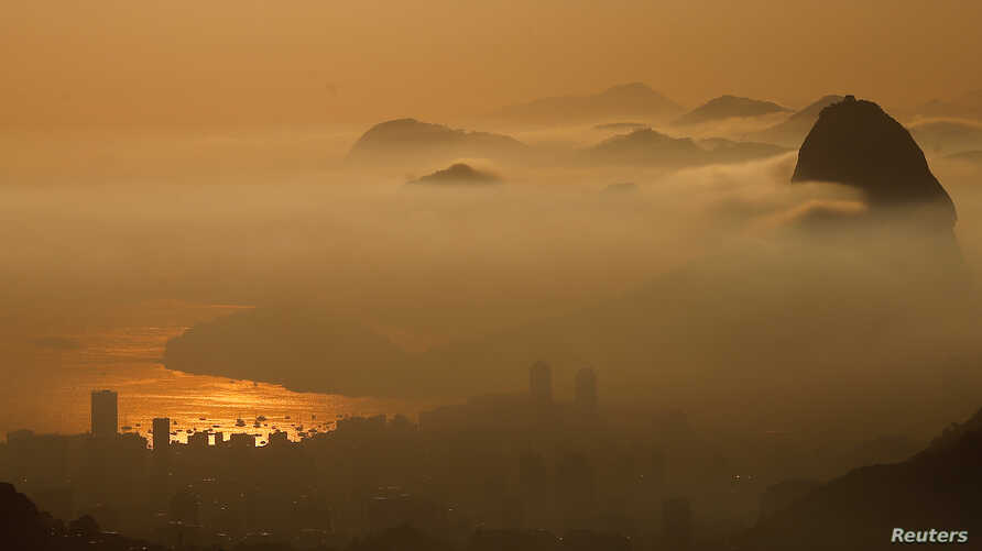 Sugarloaf Mountain is seen from the Vista Chinesa (Chinese View) during sunrise in Rio de Janeiro, Brazil, May 4, 2016.