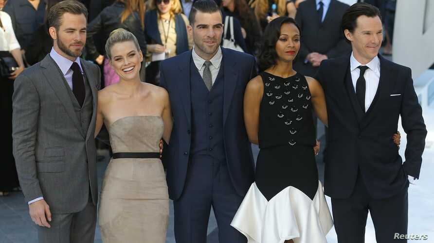 """Cast members of """"Star Trek Into Darkness"""", from left: Chris Pine, Alice Eve, Zachary Quinto, Zoe Saldana and Benedict Cumberbatch, in Leicester Square, London May 2, 2013."""