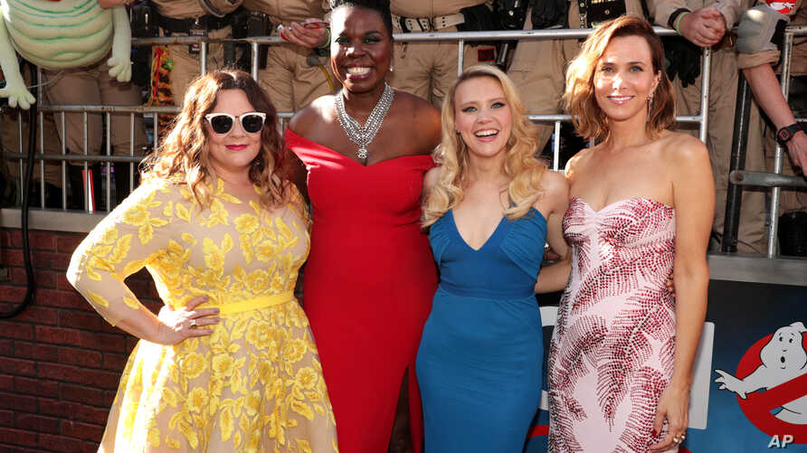"""Melissa McCarthy, Leslie Jones, Kate McKinnon, and Kristen Wiig are seen at the Los Angeles Premiere of Columbia Pictures' """"Ghostbusters"""" at TCL Chinese Theatre in Los Angeles, California, July 9, 2016."""