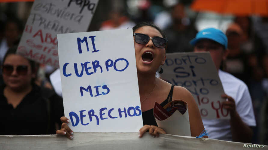 Women participate in a demonstration to ask for decriminalization of abortion in San Salvador, El Salvador, Sept. 28, 2017.