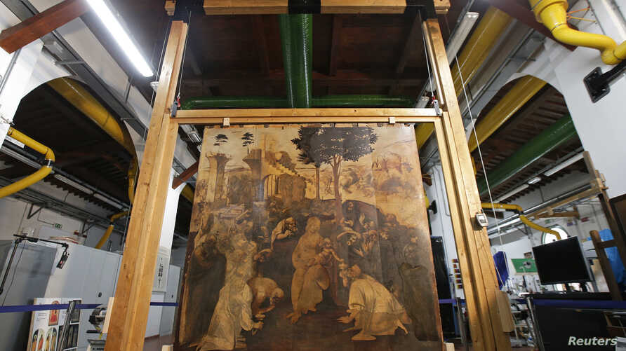 "The ""Adoration of the Magi"", a massive painting that Leonardo da Vinci started in 1481 at the age of 29 but abandoned a year later, leaving it in various stages of conception and development, is unveiled in Florence September 23, 2014."