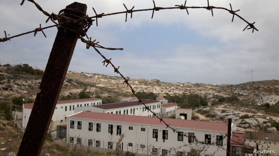 A view of the immigrant shelter in Lampedusa, the tiny Italian island close to North Africa, taken Monday, April 11, 2011.