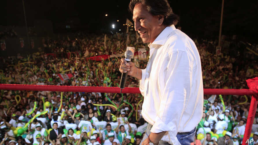 FILE - Presidential candidate Alejandro Toledo, of the political party Peru Possible, delivers a speech during a campaign rally in Lima, Peru, April 7, 2011.