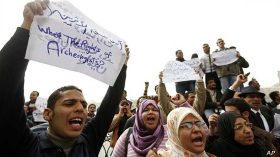 Jobless archeology graduates protest in demand of jobs in the Egyptian museum, in Cairo, Egypt, Feb 16,  2011