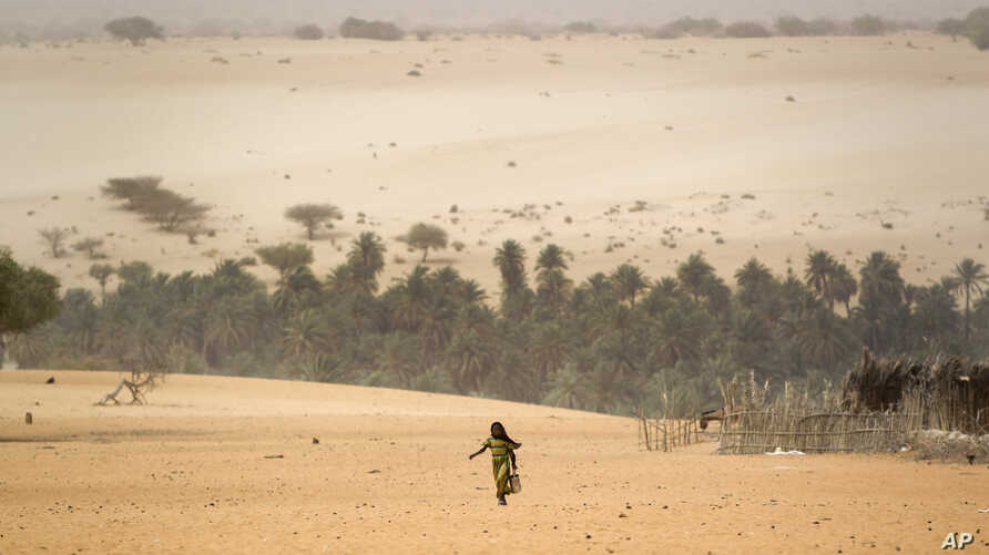 FILE - A young girl carries an empty container as she walks across the sands to fill it from a well in Barrah, a desert village in the Sahel belt of Chad.