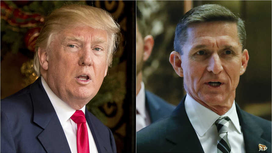 From left, President Donald Trump and former National Security Advisor Micheal Flynn.