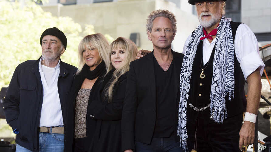 "FILE - John McVie, from left, Christine McVie, Stevie Nicks, Lindsey Buckingham and Mick Fleetwood from the band Fleetwood Mac appear on NBC's ""Today"" show in New York, Oct. 9, 2014."