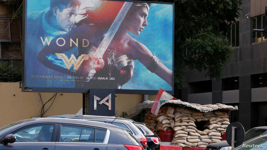 """An advertisement of """"Wonder Woman"""" movie is pictured near an army post in Beirut, Lebanon, May 31, 2017."""