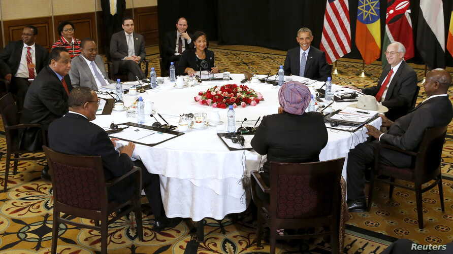 U.S. President Barack Obama holds a meeting on South Sudan and counterterrorism issues with African heads of state at his hotel in Addis Ababa, Ethiopia, July 27, 2015.