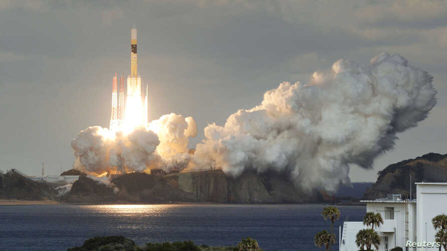 H-IIA rocket carrying Japan's first military communications satellite lifts off from Tanegashima space port on Tanegashima Island, southern Japan, in this photo taken by Kyodo, Jan. 24, 2017.