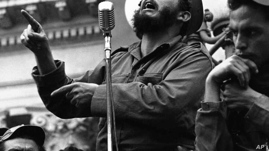Rebel leader Fidel Castro draws a laugh from the crowd in the street as he makes a speech in Colon, Jan. 7, 1959.