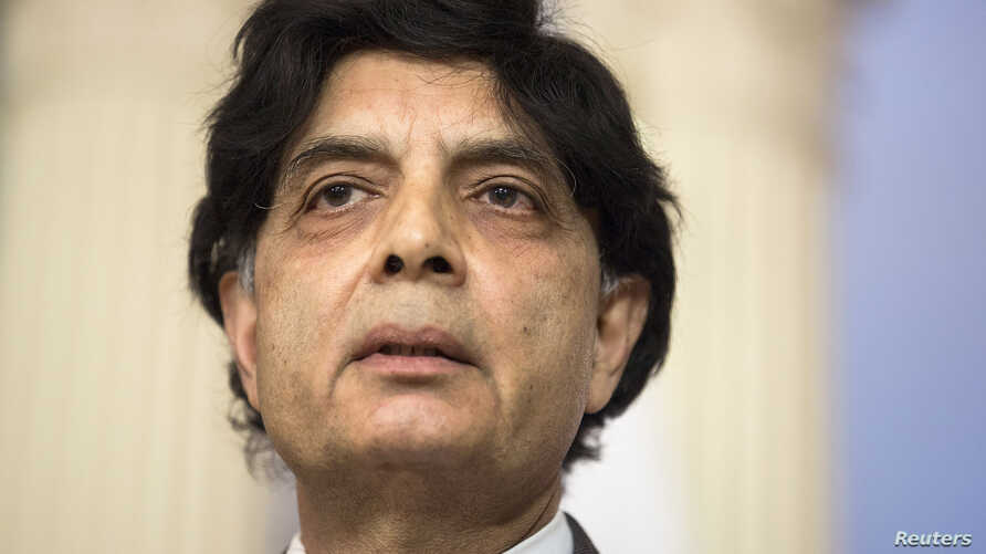 Pakistan's Interior Minister Chaudhry Nisar Ali Khan speaks during a meeting with U.S. Secretary of State John Kerry on the sidelines of the White House Summit on Countering Violent Extremism at the State Department in Washington, Feb. 19, 2015.