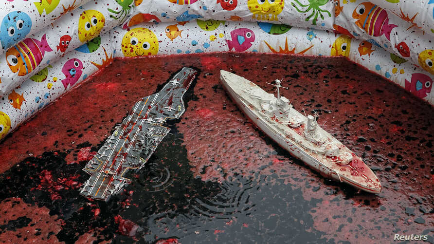 Models of warships are seen in a pool with the blood of animals as members of the Democratic Alliance party take part in a performance in front of the French embassy, Kyiv May 15, 2014.