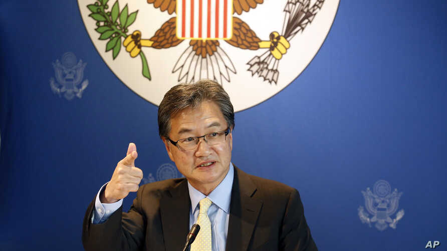 FILE - U.S. special envoy for North Korea policy Joseph Yun speaks to media in Bangkok, Thailand, Dec. 15, 2017. In the first month of Donald Trump's presidency, Yun quietly met with North Korean officials and relayed a message: the new administratio