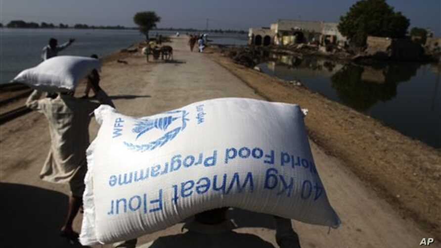 Flood survivors carry a bags of wheat flour in their village Khairpur Nathan Shah, Pakistan which is still surrounded by floodwaters, 2 Nov 2010