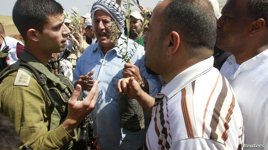 Palestinian farmers argue with an Israeli soldier as they try to plant olive trees during a protest against what they say is land confiscation for Jewish settlements in the Jordan Valley, a hotly contested part of the occupied West Bank, April 8, 201