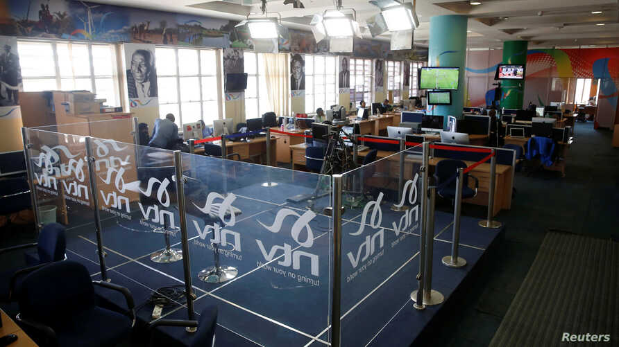A studio on the newsroom floor of the NTV channel is seen, which was shut down by the Kenyan government because of its coverage of opposition leader Raila Odinga's symbolic presidential inauguration this week, at the Nation group media building in Na...