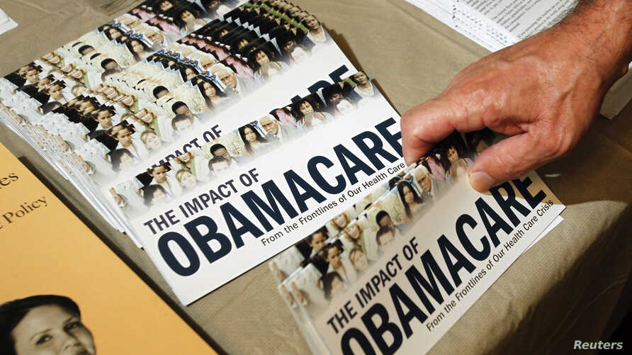 """A Tea Party member reaches for a pamphlet titled """"The Impact of Obamacare,"""" at a """"Food for Free Minds Tea Party Rally"""" in Littleton, New Hampshire in this October 27, 2012 file photo."""