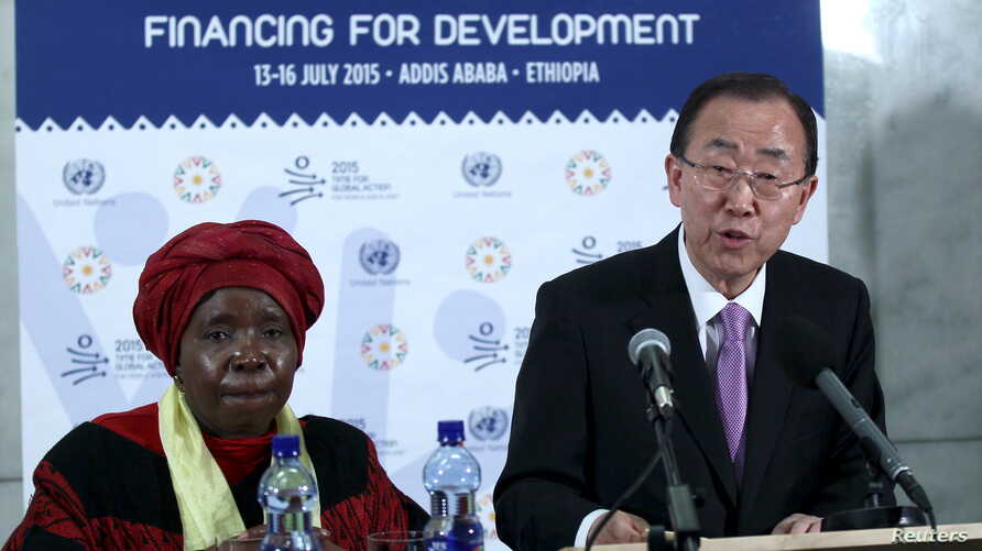 U.N. Secretary-General Ban Ki-moon (R), next to African Union Commission Chairperson Nkosazana Dlamini-Zuma, addresses a news conference during the Third International Conference on Financing for Development in Ethiopia's capital Addis Ababa, July 13