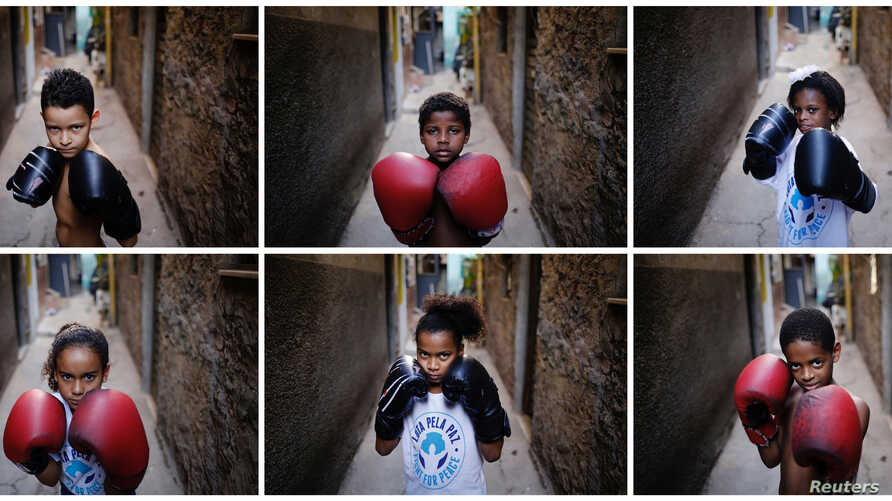A combination picture shows children posing for a photograph at a boxing school in the Mare favela of Rio de Janeiro, Brazil, June 2, 2016.