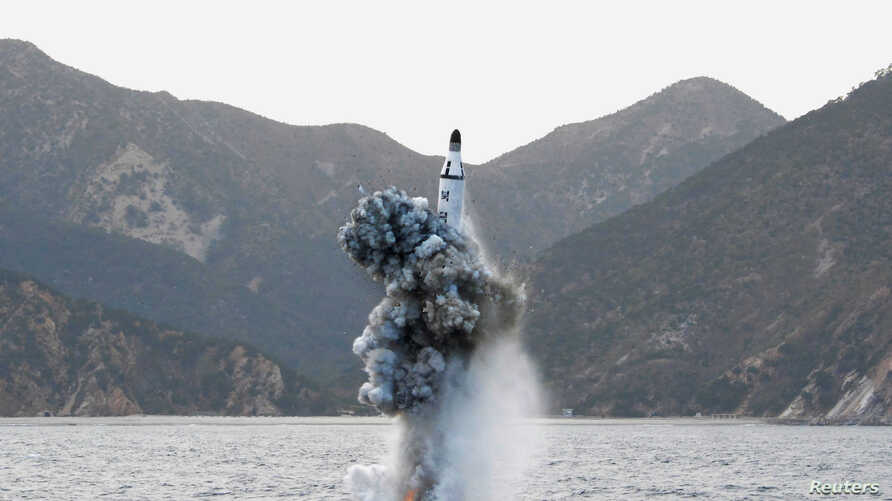 FILE - An underwater test-firing of a strategic submarine ballistic missile is seen in this undated photo released by North Korea's Korean Central News Agency (KCNA) in Pyongyang, April 24, 2016.