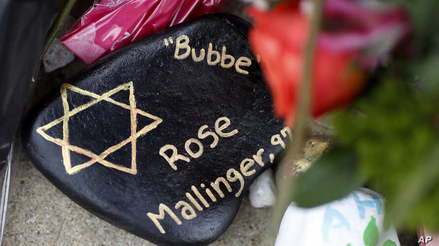This is a painted rock in memory of Rose Mallinger, 97, found on Oct. 31, 2018 as part of a makeshift memorial outside the Tree of Life Synagogue in the Squirrel Hill neighborhood of Pittsburgh, to the 11 people killed during worship services on Oct.