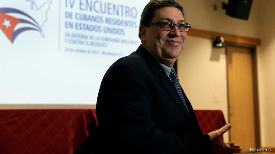 Cuban Foreign Minister Bruno Rodriguez arrives at a conference with Cuban residents in the United States at Howard University Hospital in Washington, Oct. 28, 2017.