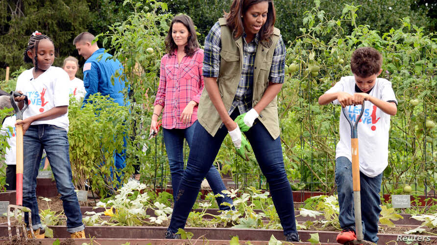 First Lady Michelle Obama, center, encourages a youngster with a pitchfork as they harvest vegetables in the White House Kitchen Garden on October 6, 2016.