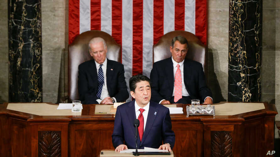 Japanese Prime Minister Shinzo Abe speaks before a joint meeting of Congress on Capitol Hill in Washington, April 29, 2015.