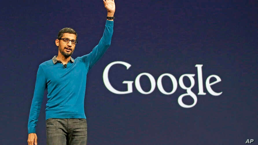 Sundar Pichai, senior vice president of Android, Chrome and Apps, waves after speaking during the Google I/O 2015 keynote presentation in San Francisco,  May 28, 2015.