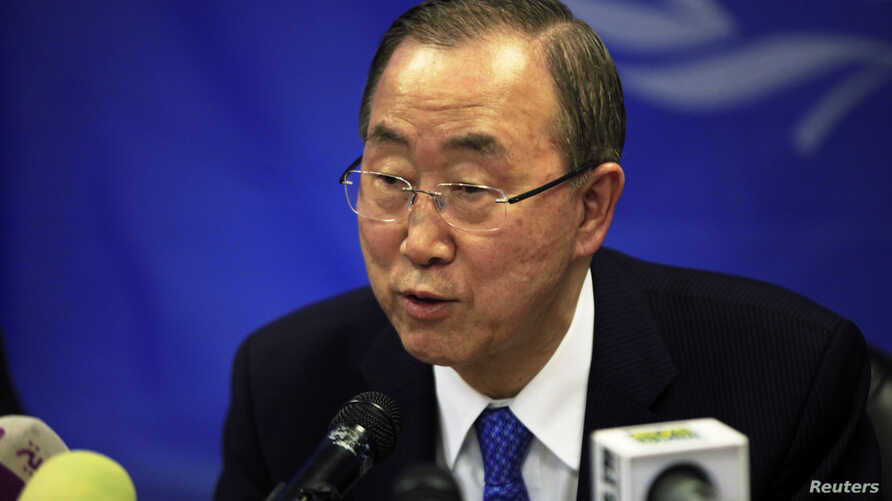 FILE - U.N. Secretary-General Ban Ki-moon speaks during a news conference at the UNMISS (United Nations Mission in South Sudan) base in Juba May 6, 2014.