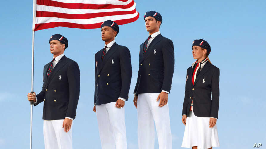 This product image released by designer Ralph Lauren shows U.S. athletes in their controversial 2012 London Olympics uniforms.