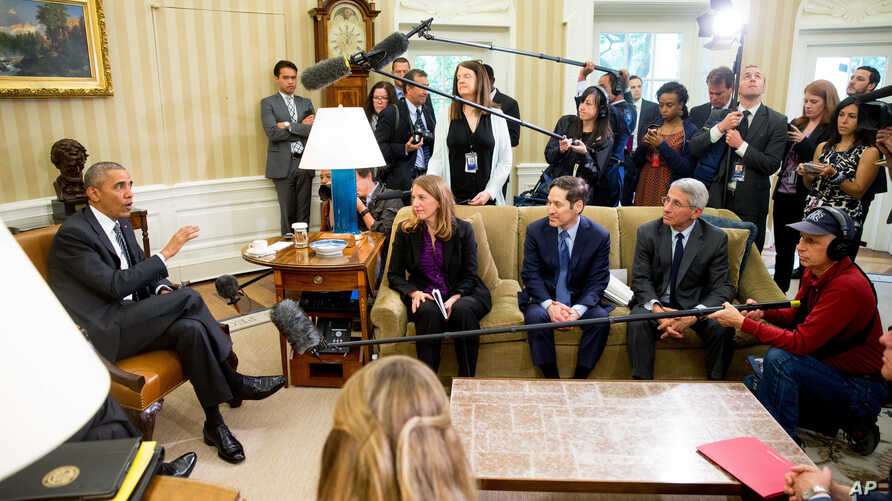 U.S. President Barack Obama speaks to members of the media after receiving a briefing on the ongoing response to the Zika virus from members of his public health team, Friday, May 20, 2016, in the Oval Office at the White House in Washington.