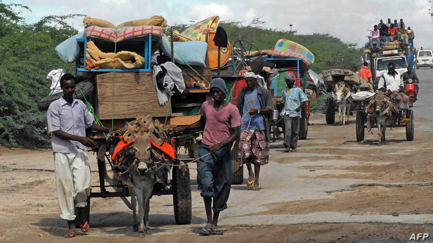 FILE - Men are seen escorting a donkey cart in southern Mogadishu, Somalia, Oct. 12, 2011. Nine donkeys pulling carts with supplies to a government-controlled area have reportedly been shot dead by al-Shabab militants in the country's in the country'