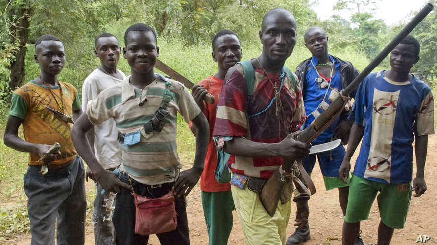 """FILE -  fighters from a Christian militia movement known as the """"anti-balaka"""" display their makeshift weaponry in the village of Boubou, between the towns of Bossangoa and Bouca, Central African Republic."""
