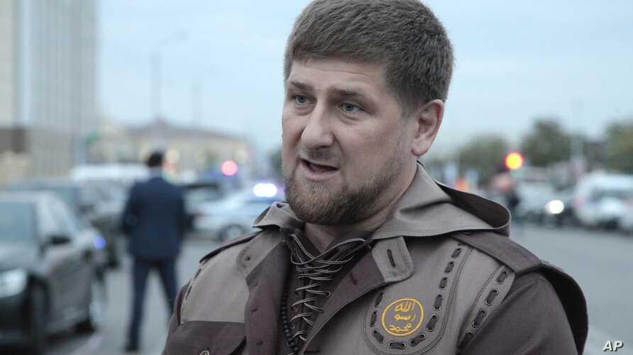 Chechen leader Ramzan Kadyrov talks to the press in the Chechen regional capital, Grozny, Oct. 5, 2014.