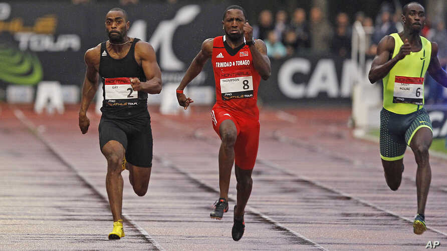 Tyson Gay, left, is on his way to win the men's 100-meter men's ahead of Richard Thompson, center, from Trinidad and Tobago, and Norway's Jaysuma Saidy-Ndure during the Athletics Montreuil meeting at the Jean Delbert stadium, in Montreuil, east of Pa