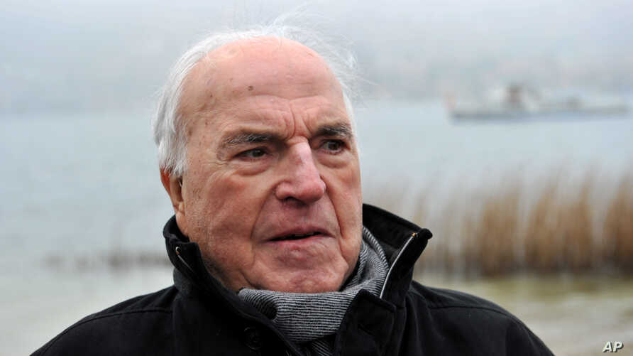 FILE - Former German chancellor Helmut Kohl on the shore of Lake Tegernsee in Bad Wiessee, southern Germany.