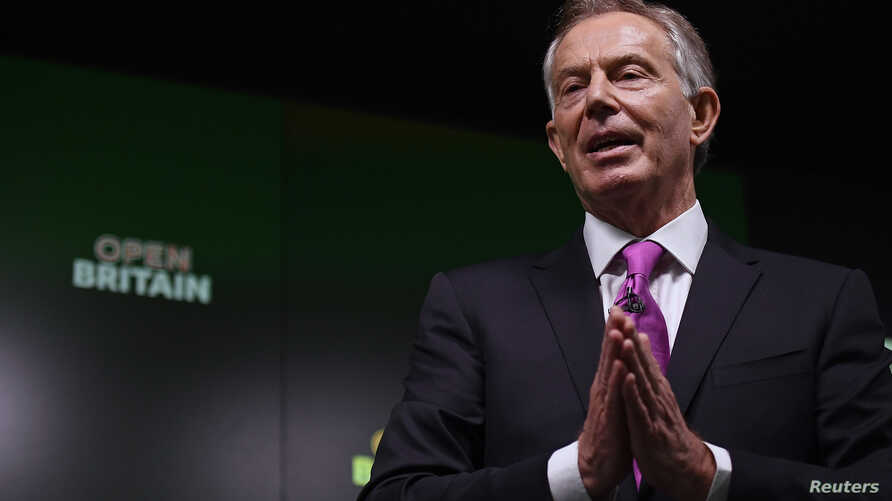 FILE - Former British Prime Minister Tony Blair delivers a keynote speech at a pro-Europe event in London, Britain.