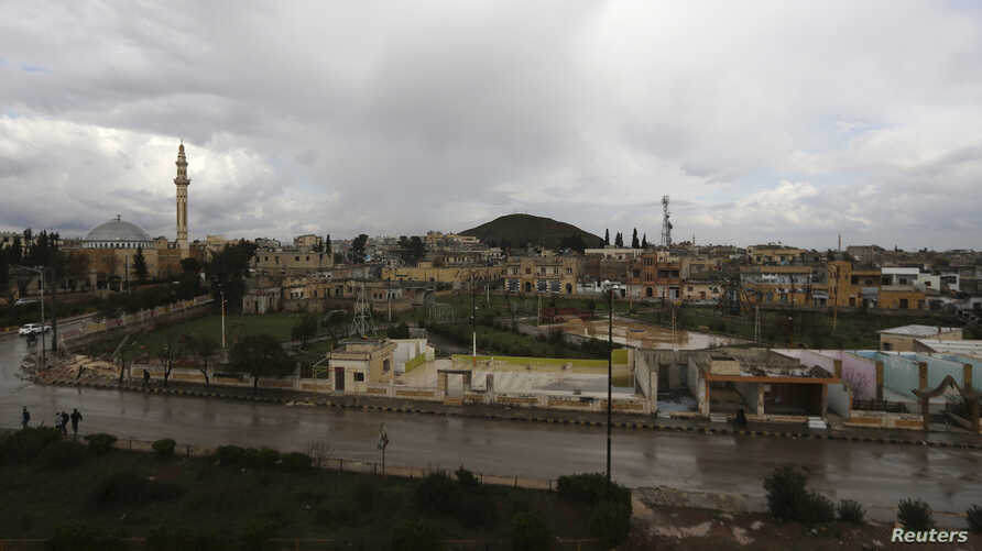 A general view shows the town of Azaz, near the Syrian-Turkish border, March 11, 2014.