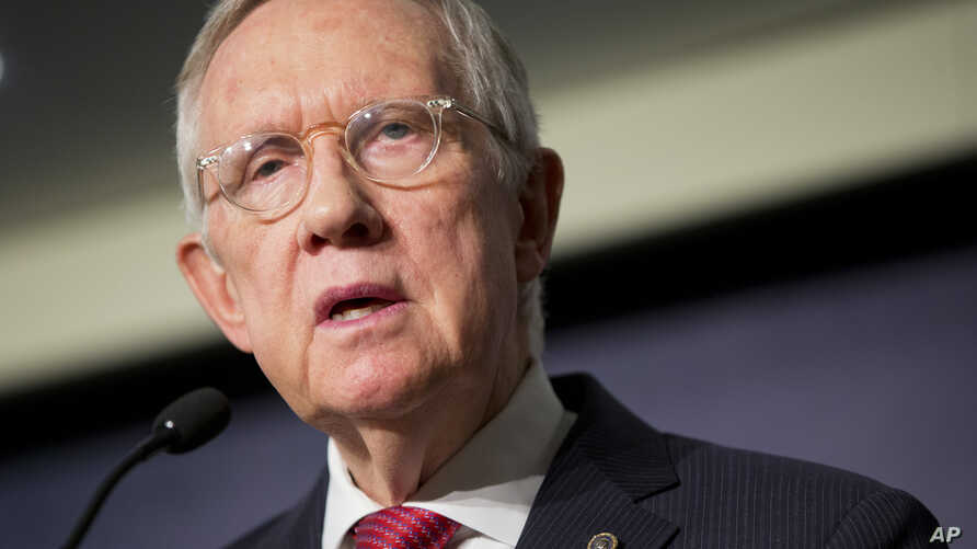 Senate Minority Leader Harry Reid, D-Nev., discusses the Iran nuclear agreement during his speech at the Carnegie Endowment for International Peace in Washington, Sept. 8, 2015.