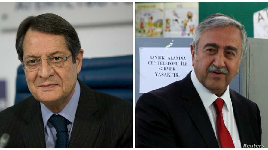 Greek Cypriot leader Nicos Anastasiades, left, will meet with newly elected Turkish Cypriot leader  Mustafa Akinci, right, on May 2 to push stalled peace talks forward.