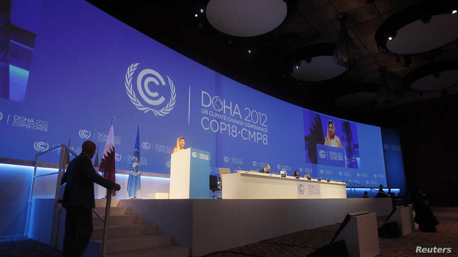 Christiana Figueres, Executive Secretary of the United Nations Framework Convention on Climate Change, speaks at the opening session of the United Nations Climate Change Conference in Doha, Qatar, November 26, 2012.