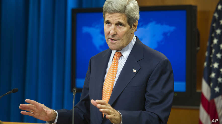 Secretary of State John Kerry speaks at the State Department in Washington to release it's annual human rights reports, June 25, 2015.